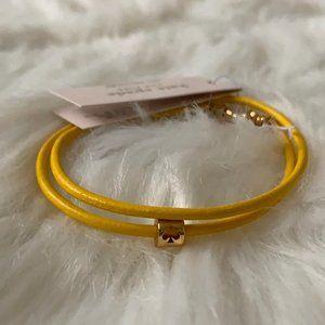 KATE SPADE Leather Wrap Bracelet in Yellow